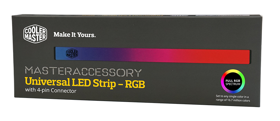 Cooler master universal led strip rgb ban leong technologies limited with the 4 pin rgb connection on both sides of the led strip you can even connect up to 4 led strips to a single 4 pin rgb connector aloadofball Images